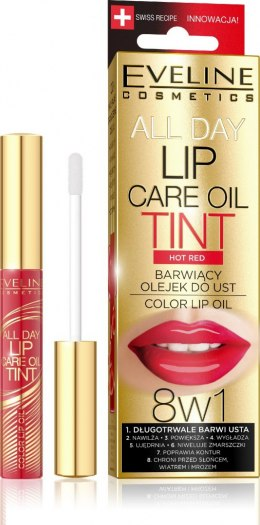 Eveline All Day Lip Care Oil Tint Barwiący Olejek do ust 8w1 nr 07 Hot Red 7ml