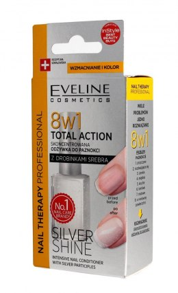 Eveline Nail Therapy Lakier odżywka do paznokci 8w1 Total Action Silver Shine 12ml