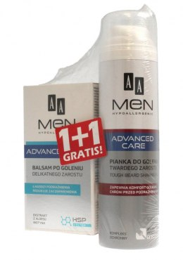 AA Men Adventure Care DUO (Balsam po goleniu delikatnego zarostu 100ml+Pianka do twardego zarostu 250ml)