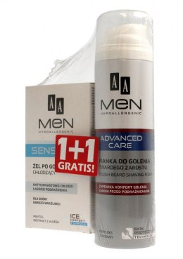 AA Men Adventure Care DUO (Żel po goleniu Sensitive 100ml+Pianka do twardego zarostu 250ml)