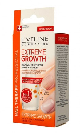 Eveline Nail Therapy Odżywka proteinowa do paznokci + baza Extreme Growth 12ml